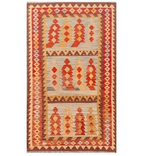Herat Oriental Afghan Hand-woven Tribal Kilim Light Blue/ Red Wool Rug (3'1 x 5')