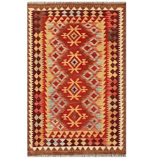 Herat Oriental Afghan Hand-woven Tribal Kilim Red/ Gold Wool Rug (3'3 x 5')