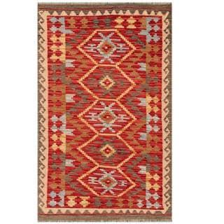 Herat Oriental Afghan Hand-woven Tribal Kilim Red/ Beige Wool Rug (2'11 x 4'8)