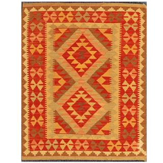 Herat Oriental Afghan Hand-woven Tribal Kilim Red/ Gold Wool Rug (3'5 x 4'2)