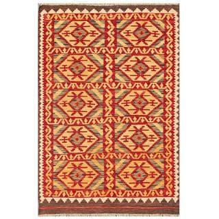Herat Oriental Afghan Hand-woven Tribal Kilim Red/ Gold Wool Rug (3'2 x 4'10)