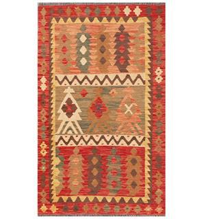 Herat Oriental Afghan Hand-woven Tribal Kilim Red/ Beige Wool Rug (3'2 x 5')