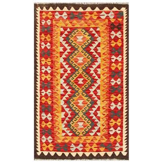 Herat Oriental Afghan Hand-woven Tribal Kilim Red/ Gold Wool Rug (3'2 x 5'2)