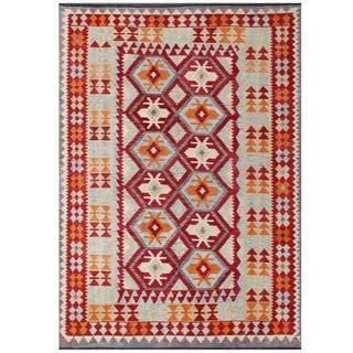 Herat Oriental Afghan Hand-woven Tribal Kilim Red/ Beige Wool Rug (5'7 x 7'10)