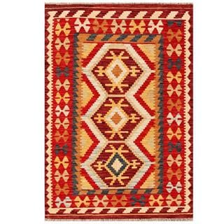 Herat Oriental Afghan Hand-woven Tribal Kilim Red/ Gold Wool Rug (3'6 x 5'1)