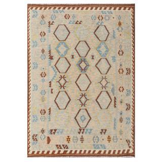Herat Oriental Afghan Hand-woven Tribal Kilim Beige/ Light Blue Wool Rug (5'10 x 8'3)