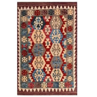 Herat Oriental Afghan Hand-woven Tribal Kilim Red/ Grey Wool Rug (3'3 x 5'1)