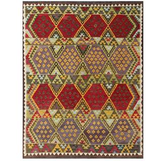 Herat Oriental Afghan Hand-woven Tribal Kilim Red/ Green Wool Rug (5'10 x 7'8)