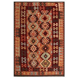 Herat Oriental Afghan Hand-woven Tribal Kilim Salmon/ Burgundy Wool Rug (4'3 x 6'2)