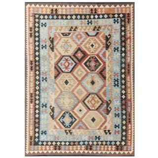 Herat Oriental Afghan Hand-woven Tribal Kilim Beige/ Salmon Wool Rug (5'8 x 7'10)