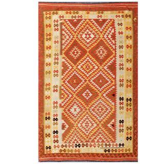 Herat Oriental Afghan Hand-woven Tribal Kilim Gold/ Rust Wool Rug (5' x 8'1)