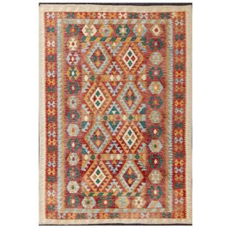 Herat Oriental Afghan Hand-woven Tribal Kilim Red/ Tan Wool Rug (5'7 x 7'10)