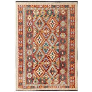 Herat Oriental Afghan Hand-woven Tribal Kilim Red/ Tan Wool Rug (5'7 x 7'10)