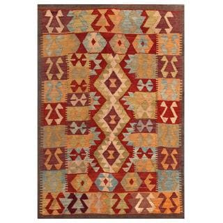Herat Oriental Afghan Hand-woven Tribal Kilim Red/ Gold Wool Rug (4' x 5'11)