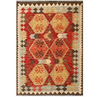 Herat Oriental Afghan Hand-woven Tribal Kilim Red/ Light blue Wool Rug (4' x 5'9)