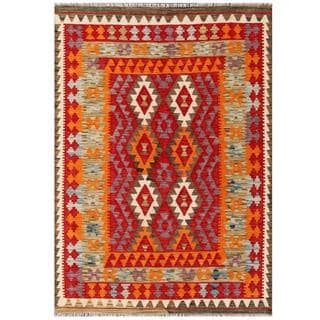 Herat Oriental Afghan Hand-woven Tribal Kilim Red/ Light Green Wool Rug (4'1 x 5'9)