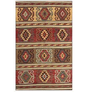 Herat Oriental Afghan Hand-woven Tribal Kilim Maroon/ Brown Wool Rug (3'11 x 6'3)