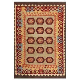 Herat Oriental Afghan Hand-woven Tribal Kilim Grey/ Salmon Wool Rug (4'2 x 6'2)