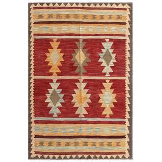 Herat Oriental Afghan Hand-woven Tribal Kilim Red/ Gold Wool Rug (3'11 x 5'11)