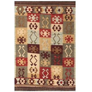 Herat Oriental Afghan Hand-woven Tribal Kilim Grey/ Tan Wool Rug (4' x 5'9)