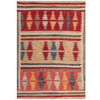 Herat Oriental Afghan Hand-woven Tribal Kilim Red/ Beige Wool Rug (4'2 x 6')