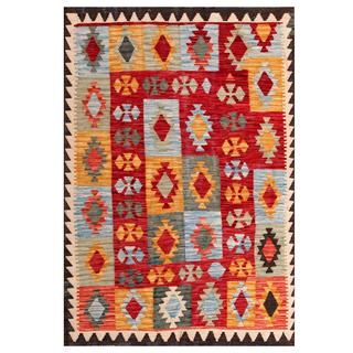 Herat Oriental Afghan Hand-woven Tribal Kilim Red/ Light Blue Wool Rug (4' x 5'9)