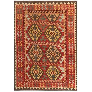 Herat Oriental Afghan Hand-woven Tribal Kilim Red/ Gold Wool Rug (4'5 x 6'6)