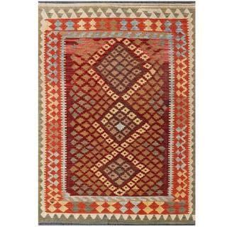 Herat Oriental Afghan Hand-woven Tribal Kilim Brown/ Rust Wool Rug (4'7 x 6'7)
