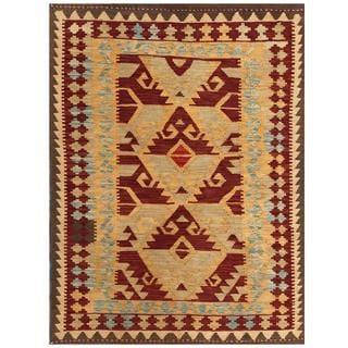 Herat Oriental Afghan Hand-woven Tribal Kilim Gold/ Brown Wool Rug (4'2 x 5'8)