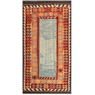 Herat Oriental Afghan Hand-woven Tribal Kilim Light Blue/ Salmon Wool Rug (3'5 x 6'5)