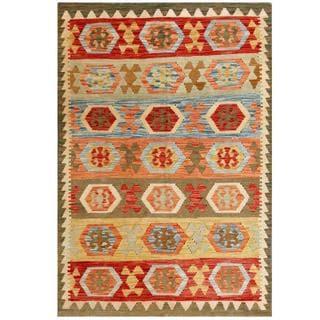 Herat Oriental Afghan Hand-woven Tribal Kilim Beige/ Red Wool Rug (4'1 x 6'1)