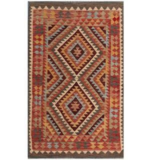 Herat Oriental Afghan Hand-woven Tribal Kilim Red/ Beige Wool Rug (3'9 x 6'2)