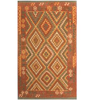 Herat Oriental Afghan Hand-woven Tribal Kilim Rust/ Gold Wool Rug (3'10 x 6'6)