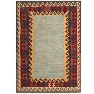 Herat Oriental Afghan Hand-woven Tribal Kilim Light Blue/ Maroon Wool Rug (4'2 x 5'11)