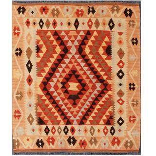 Herat Oriental Afghan Hand-woven Tribal Kilim Red/ Beige Wool Rug (3'5 x 3'11)