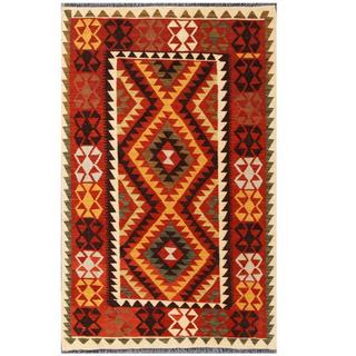 Herat Oriental Afghan Hand-woven Tribal Kilim Red/ Gold Wool Rug (3'5 x 5'5)