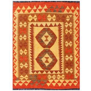 Herat Oriental Afghan Hand-woven Tribal Kilim Beige/ Red Wool Rug (3' x 4')