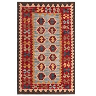 Herat Oriental Afghan Hand-woven Tribal Kilim Light Blue/ Maroon Wool Rug (3' x 4'10)