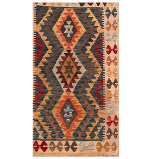 Herat Oriental Afghan Hand-woven Tribal Kilim Blue/ Beige Wool Rug (2'9 x 4'8)