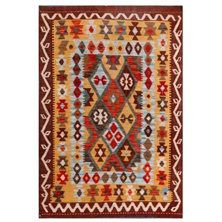 Herat Oriental Afghan Hand-woven Tribal Kilim Gold/ Brown Wool Rug (3'5 x 4'11)