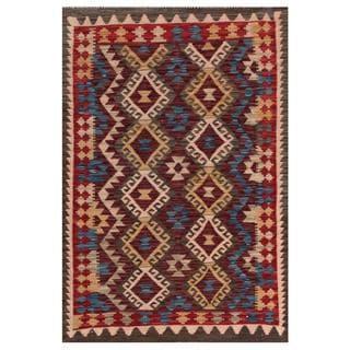 Herat Oriental Afghan Hand-woven Tribal Kilim Burgundy/ Blue Wool Rug (3'5 x 4'10)