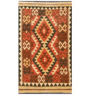 Herat Oriental Afghan Hand-woven Tribal Kilim Red/ Brown Wool Rug (3'3 x 5'6)