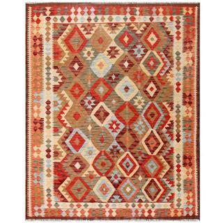 Herat Oriental Afghan Hand-woven Tribal Kilim Brown/ Beige Wool Rug (5'1 x 6'5)