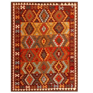 Herat Oriental Afghan Hand-woven Tribal Kilim Brown/ Gold Wool Rug (4'10 x 6'5)