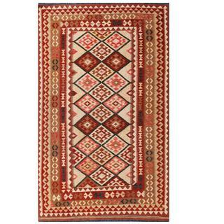 Herat Oriental Afghan Hand-woven Tribal Kilim Beige/ Brown Wool Rug (4'11 x 8'1)