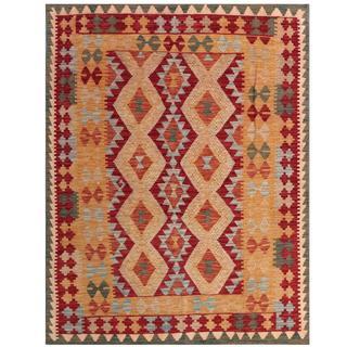Herat Oriental Afghan Hand-woven Tribal Kilim Red/ Tan Wool Rug (4'10 x 6'5)