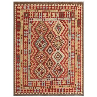 Herat Oriental Afghan Hand-woven Tribal Kilim Red/ Tan Wool Rug (5' x 6'6)