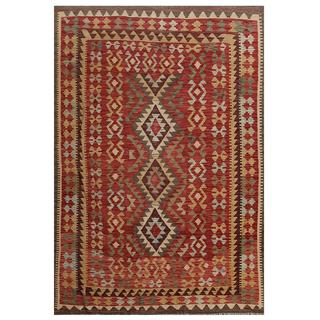 Herat Oriental Afghan Hand-woven Tribal Kilim Red/ Tan Wool Rug (4'8 x 6'10)