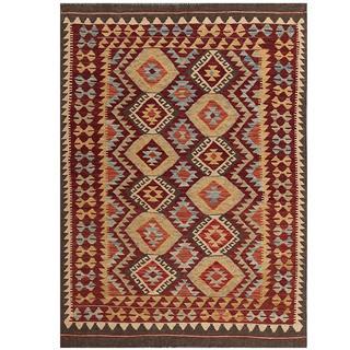 Herat Oriental Afghan Hand-woven Tribal Kilim Burgundy/ Tan Wool Rug (4'5 x 6'3)