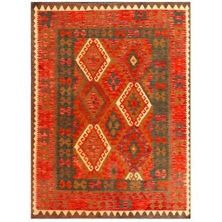 Herat Oriental Afghan Hand-woven Tribal Kilim Red/ Green Wool Rug (4'11 x 6'6)